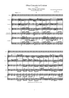 Concerto in G minor for Oboe and String Quartet: Version for oboe, strings and cembalo (score and parts), I47a by Джованни Бенедетто Платти