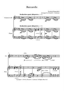 No.22 Barcarolle: Для кларнета и фортепиано by Иоганн Фридрих Бургмюллер