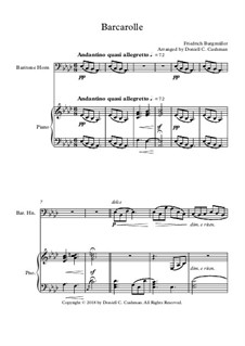 No.22 Barcarolle: For baritone horn and piano by Иоганн Фридрих Бургмюллер