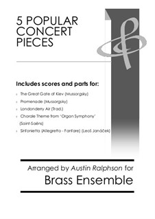 5 Popular Concert Pieces - brass ensemble / 10-piece book: 5 Popular Concert Pieces - brass ensemble / 10-piece book by Леош Яначек, Камиль Сен-Санс, Модест Мусоргский, folklore