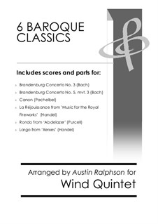6 Baroque Classics: For wind quintet bundle / book / pack by Иоганн Себастьян Бах, Генри Пёрсел, Георг Фридрих Гендель, Иоганн Пахельбель