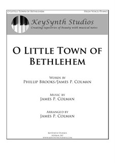 O Little Town of Bethlehem: For tenor and piano by James Colman