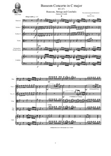 Concerto in C major for Bassoon, Strings and Cembalo, RV 471: Score, parts by Антонио Вивальди