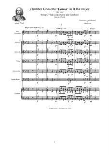 Concerto for Strings in B Flat Major, RV 163: Score and parts by Антонио Вивальди