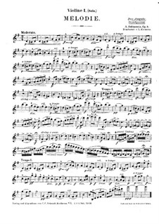 Две мелодии, Op.3: Мелодия no.1, для струнного квинтета – Партия первой скрипки by Антон Рубинштейн