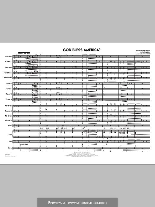 God Bless America: Conductor score (full score) by Ирвинг Берлин