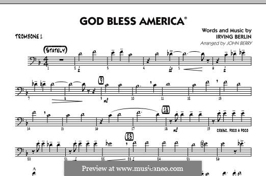 God Bless America: Trombone 1 part by Ирвинг Берлин