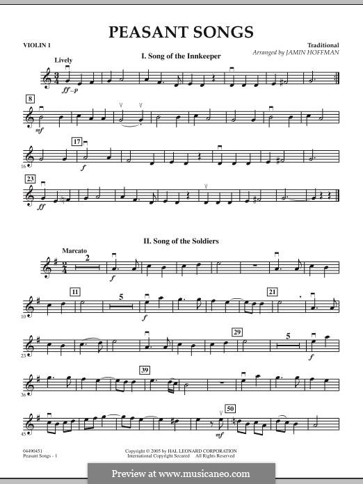 Peasant Songs: Violin 1 part by folklore