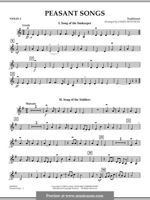 Peasant Songs: Violin 2 part by folklore