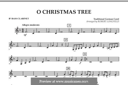 O Christmas Tree, for Orchestra: Bb Bass Clarinet part by folklore