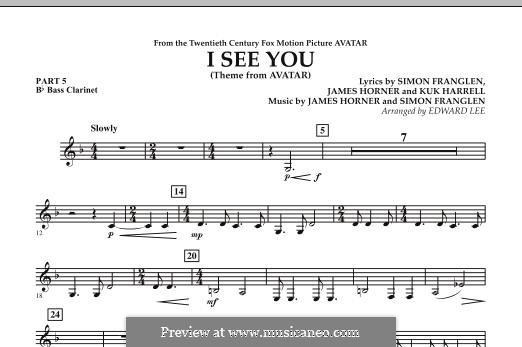 I See You (Theme from Avatar): Pt.5 - Bb Bass Clarinet part by James Horner, Simon Franglen