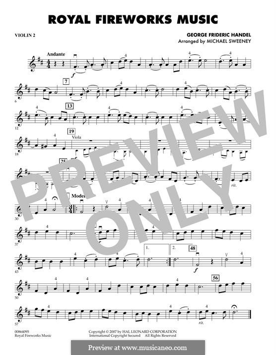 Музыка фейерверка, HWV 351: Overture - violin 2 part by Георг Фридрих Гендель