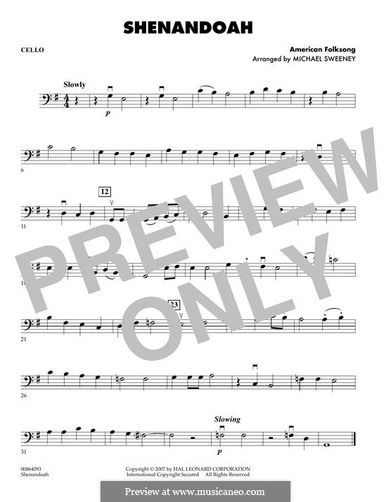 Shenandoah: Партия виолончели by folklore