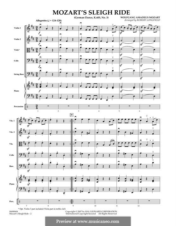 Три немецких танца, K.605: Dance No.3 - full score by Вольфганг Амадей Моцарт