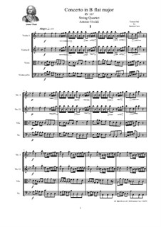 Concerto for Strings in B Flat Major, RV 167: Score and parts by Антонио Вивальди