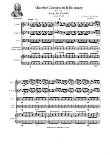 Concerto for Strings in B Flat Major, RV164: Score and parts by Антонио Вивальди