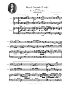 Double Sonata in D major for Two Flutes and Cembalo: Double Sonata in D major for Two Flutes and Cembalo, CSVal-2 by Джузеппе Валентини