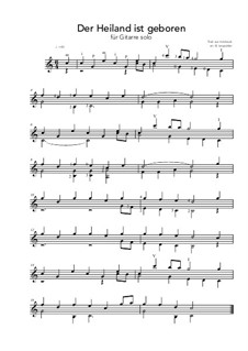 Der Heiland ist geboren: For guitar solo (C Major) by folklore