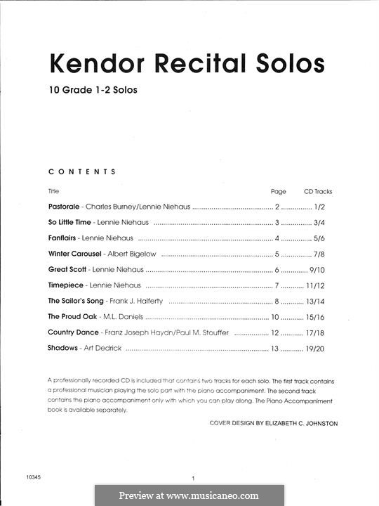 Kendor Recital Solos - Baritone: Baritone T.C. - Solo Book with MP3 by Lennie Niehaus, Frank J. Halferty, Paul M. Stouffer, Albert Bigelow