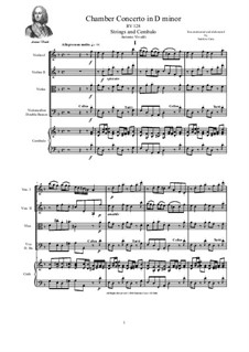 Concerto for Strings in D Minor, RV 128: Score and parts by Антонио Вивальди