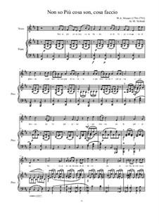 Non so più cosa son, cosa faccio: Для голоса и фортепиано (D Major) by Вольфганг Амадей Моцарт