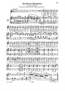 Die kleine Spinnerin, K.531: For high or medium voice and piano by Вольфганг Амадей Моцарт