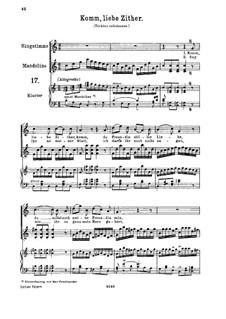 Komm, liebe Zither, K.351 (367b): Для высокого голоса и фортепиано by Вольфганг Амадей Моцарт