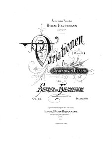 Вариации ре минор для фортепиано в четыре руки, Op.86: Вариации ре минор для фортепиано в четыре руки by Генрих фон Герцогенберг