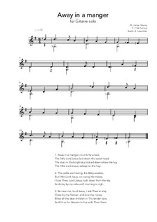 Away in a Manger: For guitar solo (G Major) by Джеймс Р. Мюррей