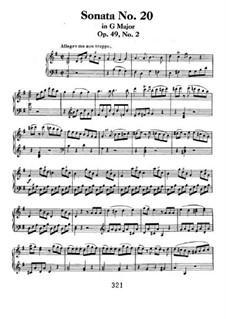 Соната для фортепиано No.20, Op.49 No.2: Для одного исполнителя by Людвиг ван Бетховен