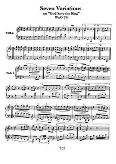 Семь вариаций на тему английской песни 'Боже, храни Короля', WoO 78: Для фортепиано by Людвиг ван Бетховен