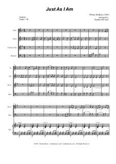Just as I am: For woodwind quartet and piano by William Batchelder Bradbury
