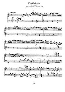 Каденции к Концерту для фортепиано с оркестром No.17 соль мажор Моцарта: Для фортепиано by Иоганнес Брамс