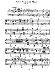 Баллада No.3 ля-бемоль мажор, Op.47: Для фортепиано by Фредерик Шопен
