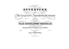 Сон в летнюю ночь, Op.21: Увертюра, для двух фортепиано в восемь рук – партия первого фортепиано by Феликс Мендельсон-Бартольди