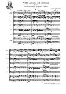 Concerto in E flat major for Violin, Strings and Cembalo, RV 254: Score, parts by Антонио Вивальди