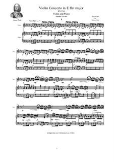 Concerto in E flat major for Violin, Strings and Cembalo, RV 254: Версия для скрипки и фортепиано by Антонио Вивальди