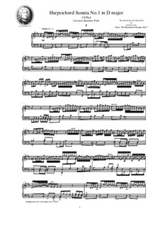 Harpsichord (or Piano) Sonatas, Op.1: Sonata No.1 in D major, CSPla4 by Джованни Бенедетто Платти