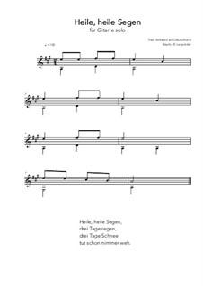 Heile, heile Segen: For guitar solo (A Major) by folklore