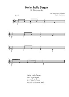 Heile, heile Segen: For guitar solo (C Major) by folklore