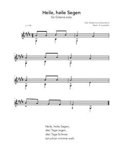 Heile, heile Segen: For guitar solo (E Major) by folklore