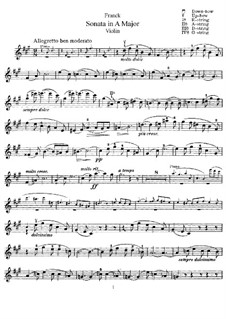 Соната для скрипки и фортепиано ля мажор, M.8 FWV 8: Партия скрипки by Сезар Франк