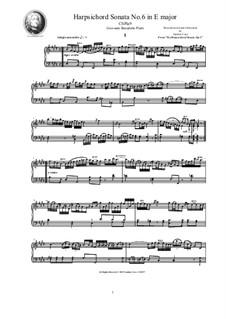 Harpsichord (or Piano) Sonatas, Op.1: Sonata No.6 in E major, CSPla9 by Джованни Бенедетто Платти