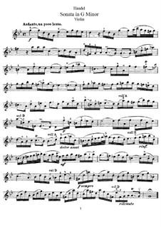 Соната для скрипки и клавесина соль минор, HWV 368 Op.1 No.10: Сольная партия by Георг Фридрих Гендель