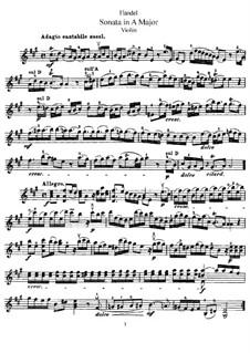 Соната для скрипки и клавесина ля мажор, HWV 372 Op.1 No.14: Сольная партия by Георг Фридрих Гендель
