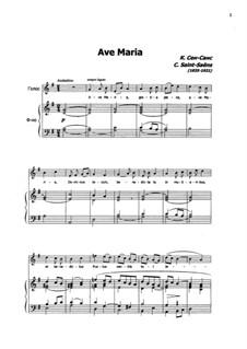 Аве Мария для голосa и органа: Version for voice and piano by Камиль Сен-Санс