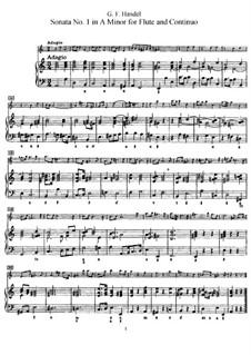 Соната для флейты и клавесина No.1 ля минор, HWV 374: Партитура by Георг Фридрих Гендель