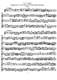 Соната для флейты и клавесина No.2 ми минор, HWV 375: Сольная партия by Георг Фридрих Гендель