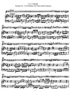 Соната для флейты и клавесина No.3 си минор, HWV 376: Партитура by Георг Фридрих Гендель