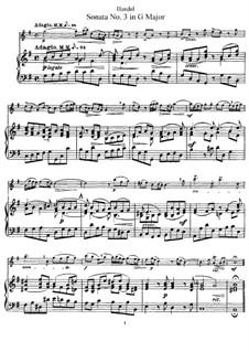Соната для флейты и клавесина соль мажор, HWV 363b Op.1 No.5: Партитура by Георг Фридрих Гендель